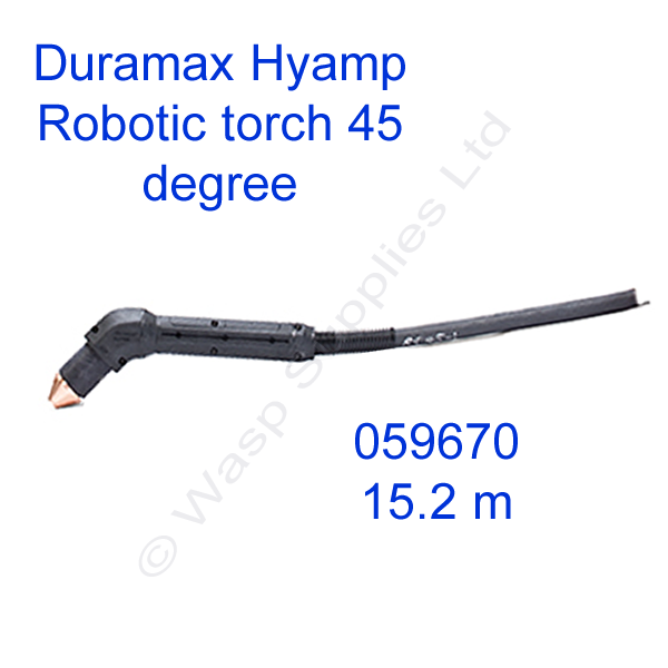 059670 Hypertherm Duramax Hyamp 45 degree robotic torch 15.2m lead