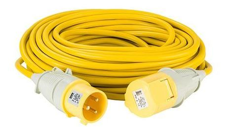 110volt 32amp 25 metre 4.0 mm cable, extension lead yellow .