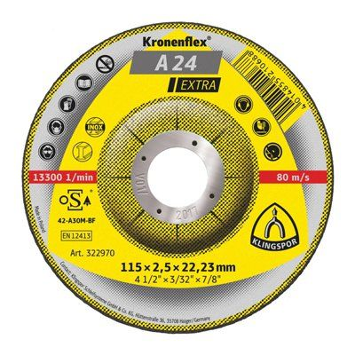 115 x 2.5 mm Cutting disc, Klingspor A 24 Extra
