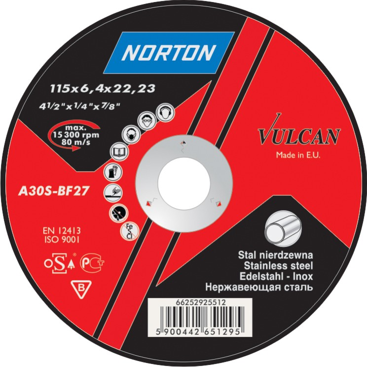 115 x 6 mm Norton Vulcan Inox   Grinding disc BF27 for steel and stainless steel.