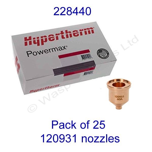 228440 Hypertherm bulk pack of 60 amp nozzle 120931 pack of 25