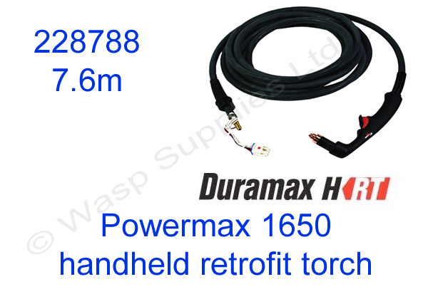 228788 Hypertherm handheld retrofit torch for Powermax 1650 length 7.6m