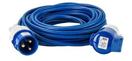 240 volt 32 amp 14 metre 2.5mm cable, extension lead blue.