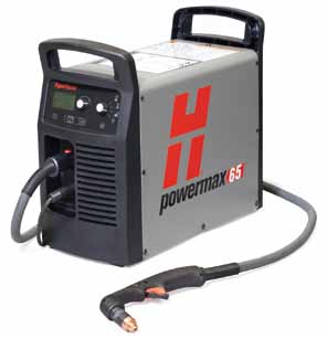 Hypertherm powermax 65 m/c plasma cutter, with 14 pin cpc & RS-485 port, torch, for automated use