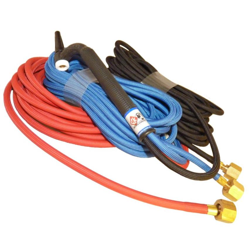 "CK2012SFFX  Flex Neck water cooled Tig Torch 250amp 100% rated, 4m Superflex cables 3.8"" BSP ."