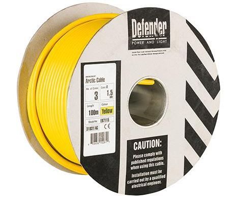 Defender E87115 1.5mm²  3 core yellow Arctic cable 110 volt  100m drum