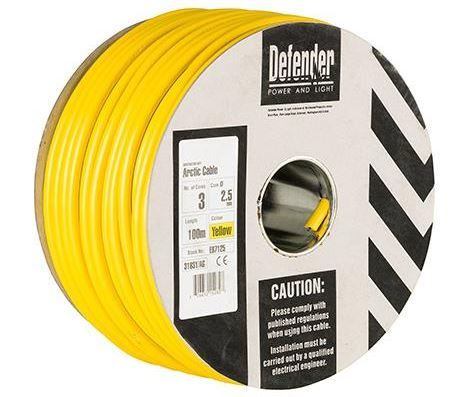 Defender E87125 2.5mm²  3 core yellow Arctic cable 110 volt  100m drum