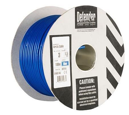 Defender E87215 1.5mm² x 3 core blue Arctic cable 240volt 100m drum