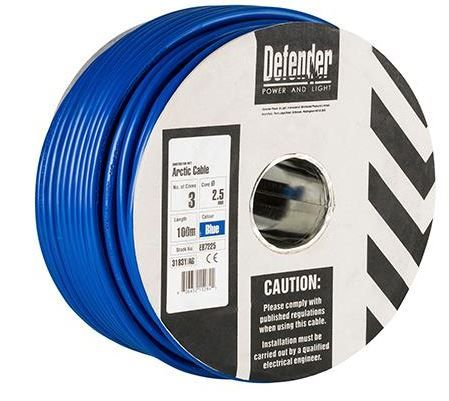 Defender E87225 2.5mm²  3 core Arctic cable 240volt  100m drum