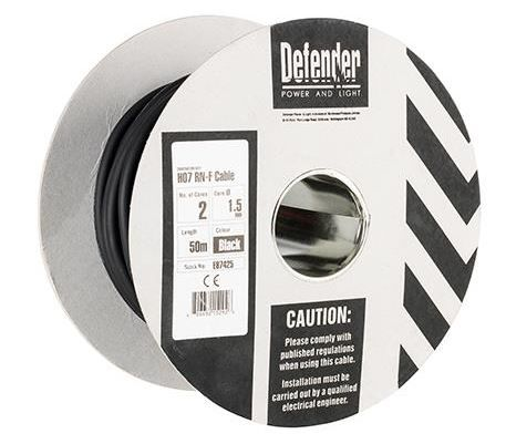 Defender E87425 1.5mm² 2 core 50m  110 / 240V Rubber