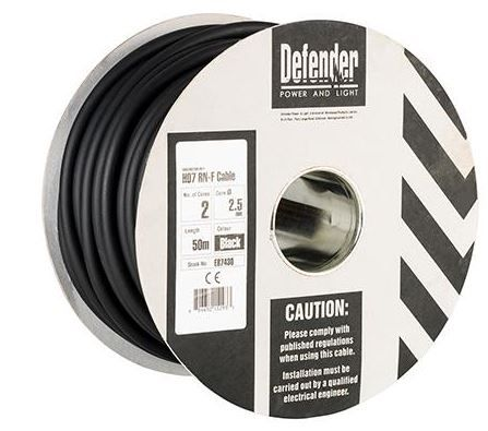 Defender E87430 2.5mm² 2 core 50m 110 / 240V Rubber