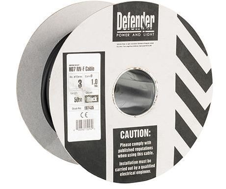 Defender E87435 1.0mm² 3 core 50m 110 / 240V Rubber