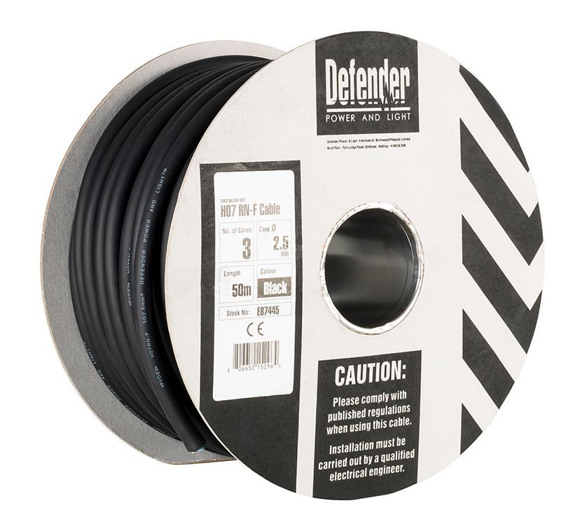 Defender E87445 2.5mm² 3 core 50m 110 / 240V Rubber