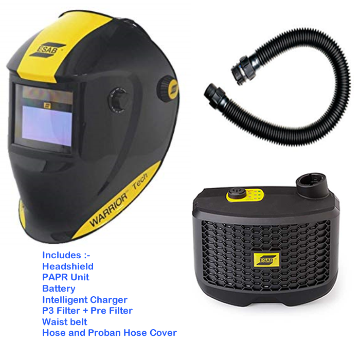 Esab WARRIOR Tech welding Mask with Esab PAPR Air fed respirator - complete outfit ready to go, charge the  battery and weld.