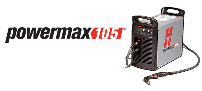 low cost Hypertherm 059415 Powermax 105 Plasma cutting machine, 50mm capacity. 15.2m torch