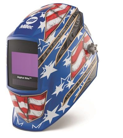Miller Digital Elite Stars III light reactive auto welding head shield.