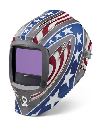 Miller Digital Infinity Stars & stripes light reactive auto welding head shield.
