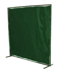 Green PVC Curtain frame and mounting rings, ready to use