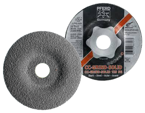 Pferd CC-grind-Solid 125 mm for steel, high stock removal grinding disc. Part no 887073