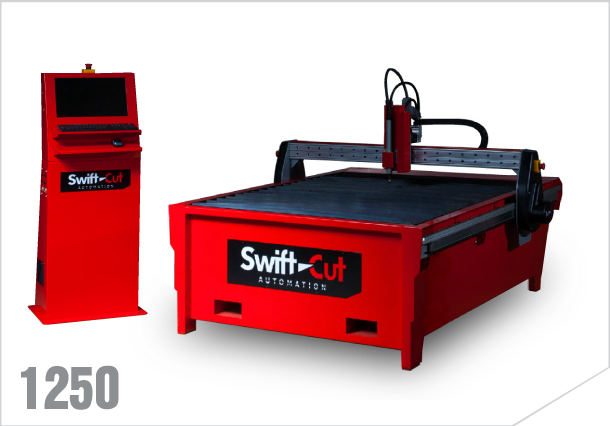 Swift-cut 1250 down draft CNC plasma cutting table with zoned bed for extractor fan and filter.