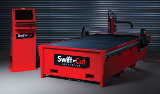Swift-cut 2500 down draft CNC plasma cutting table with zoned bed for extractor fan and filter.