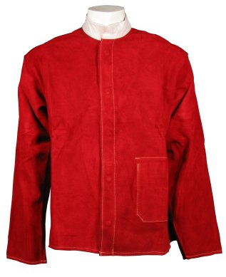 Heat resistant Kevlar stitched red leather jacket